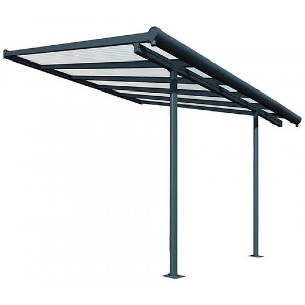 Sierra Patio Cover 3m X 3.05m Storm Grey Frame - Clear Polycarbonate