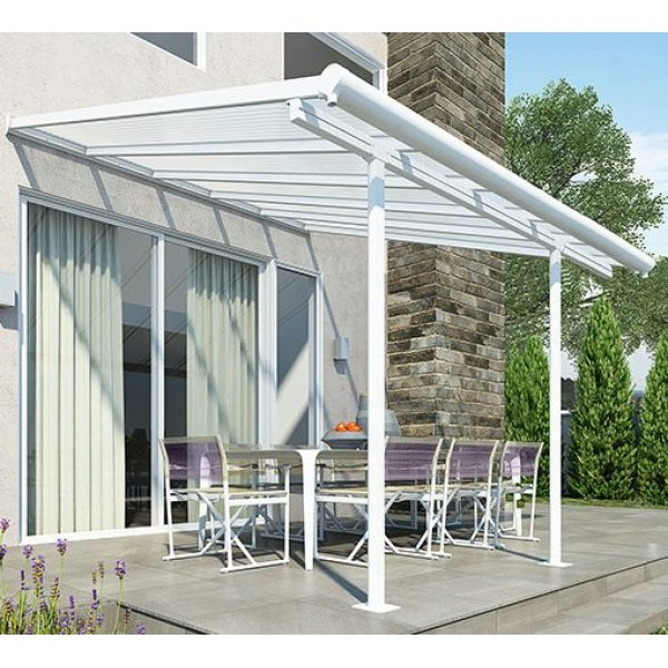 Sierra Patio Cover 3m X 3.05m White Frame - Clear Polycarbonate