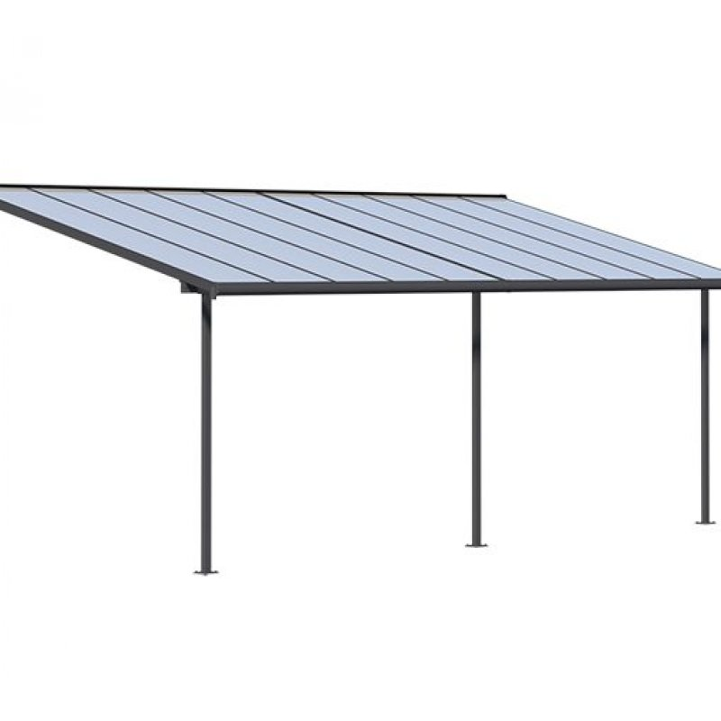 Patio Canopy 3m X 6.10m Storm Grey Frame - Clear Polycarbonate