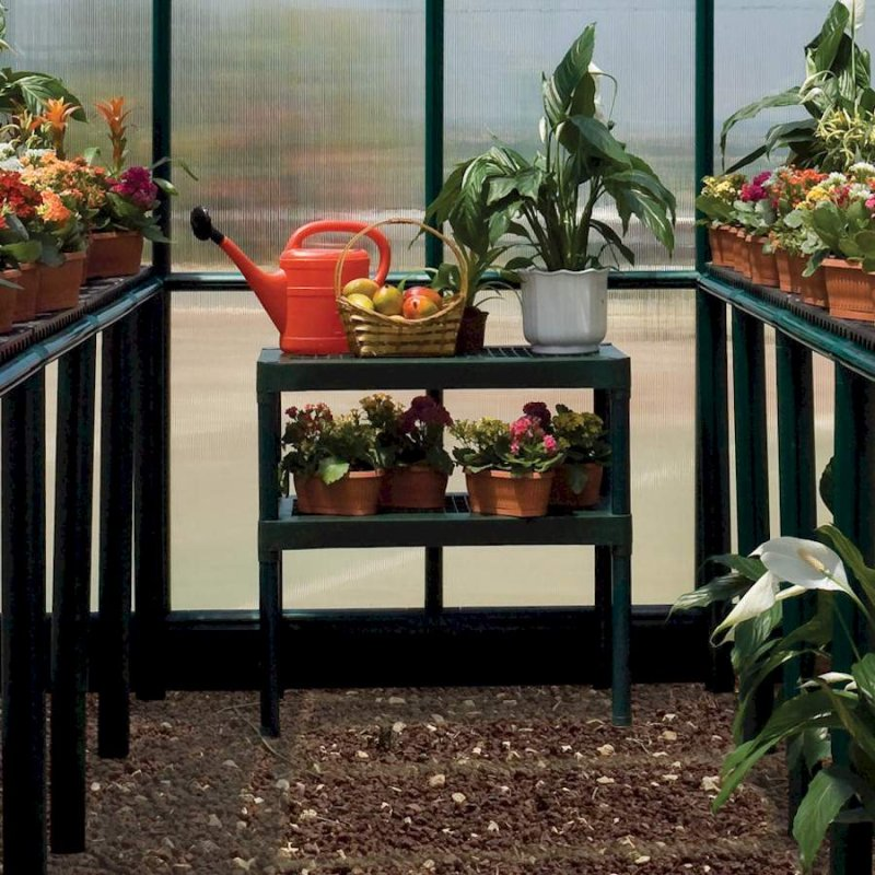 Two Tier Greenhouse Staging Green