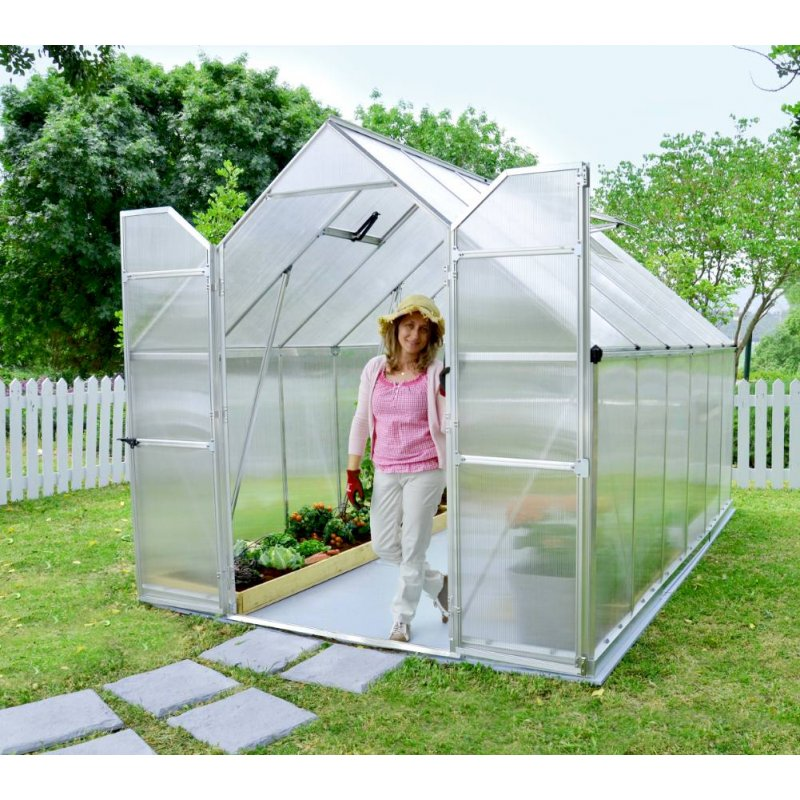 Huge Greenhouse Essence 8`X 12` Silver Double Doors