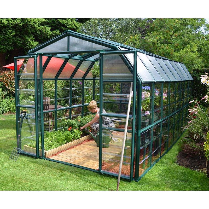 Grand Gardener 8 ′x 16′ Clear Green Greenhouse