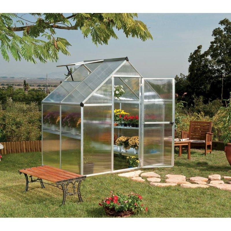 Mythos 6'x4' Polycarbonate Greenhouse Silver Frame