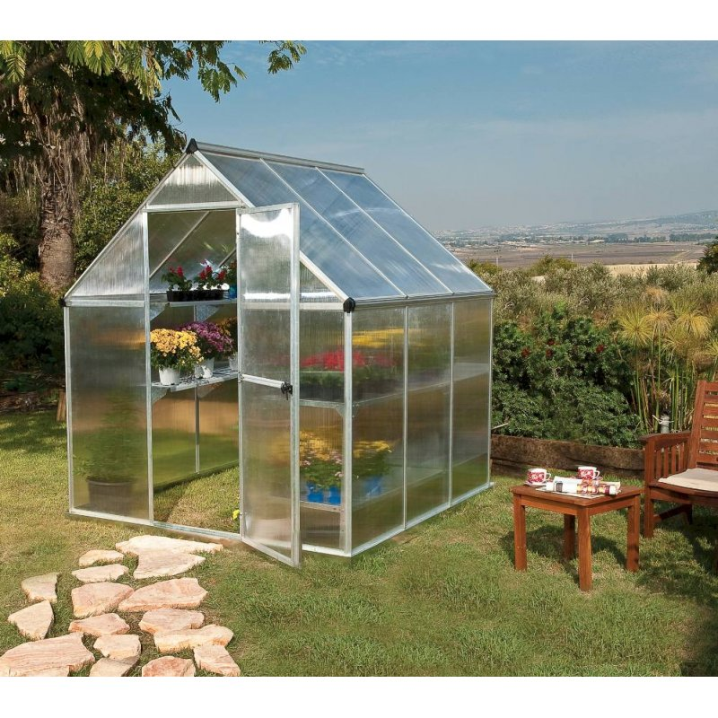 Mythos 6'x6' Polycarbonate Greenhouse Silver