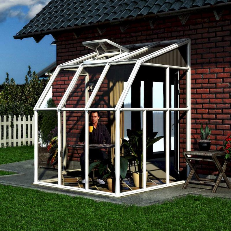 Lean-To Small Greenhouse Or Sun Room 6′ x 6′ White