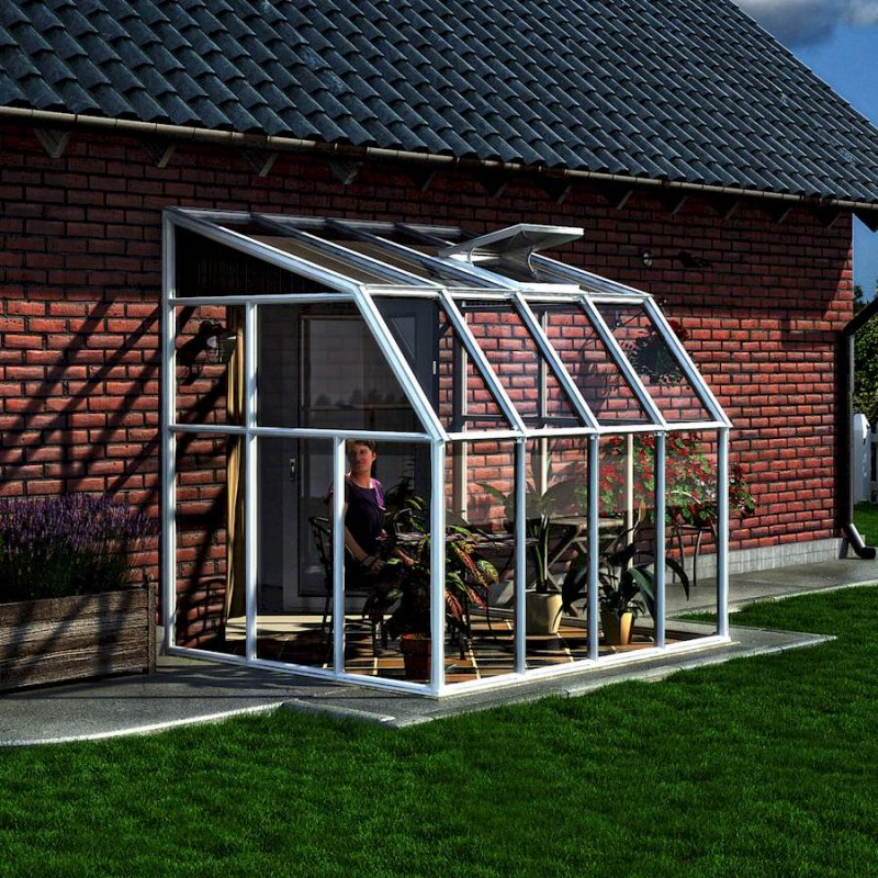 Lean-To Greenhouse Or Sun Room 6′ x 8′ White