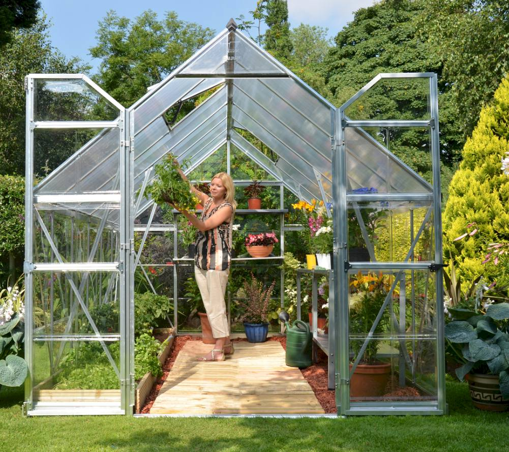 Disabled access Low threshold double door greenhouse