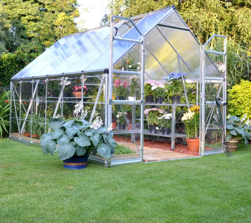 school gardening large greenhouse double doors