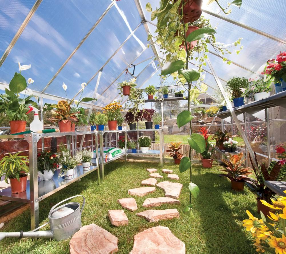 School greenhouse with low threshold double doors