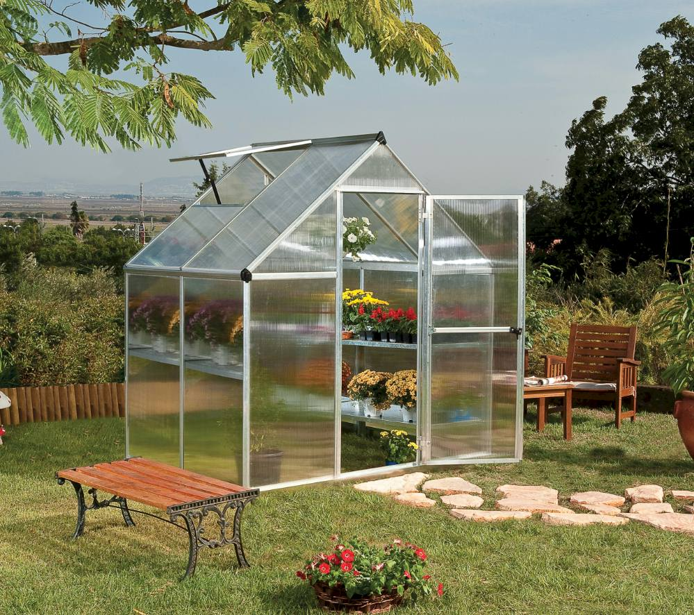 polycarbonate greenhouse 6x4 small with a door to the front
