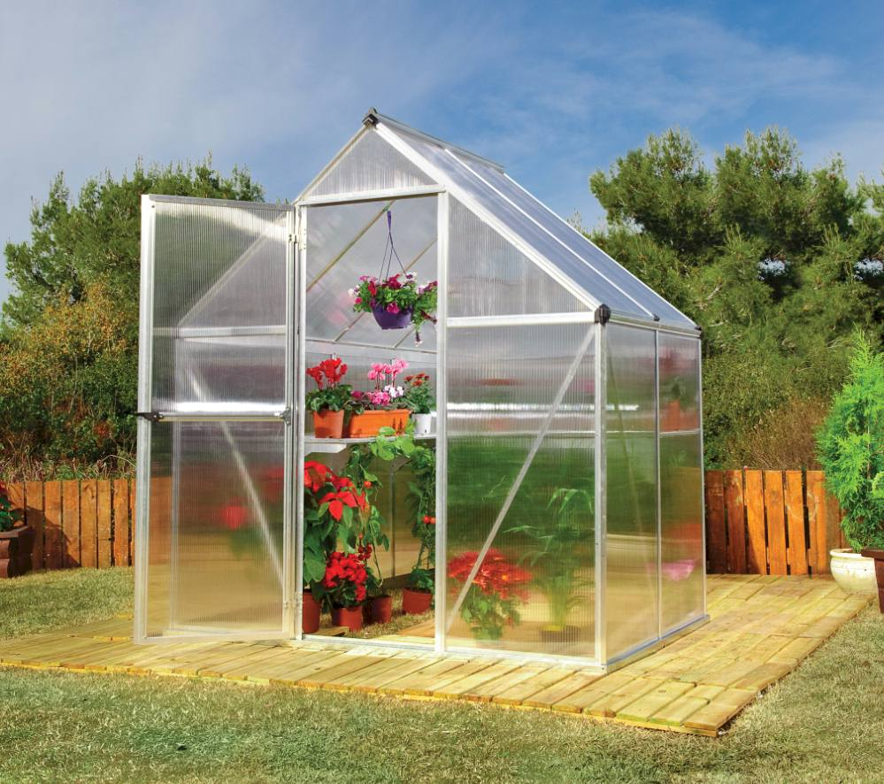 6x4 small polycarbonate greenhouse for small garden spaces