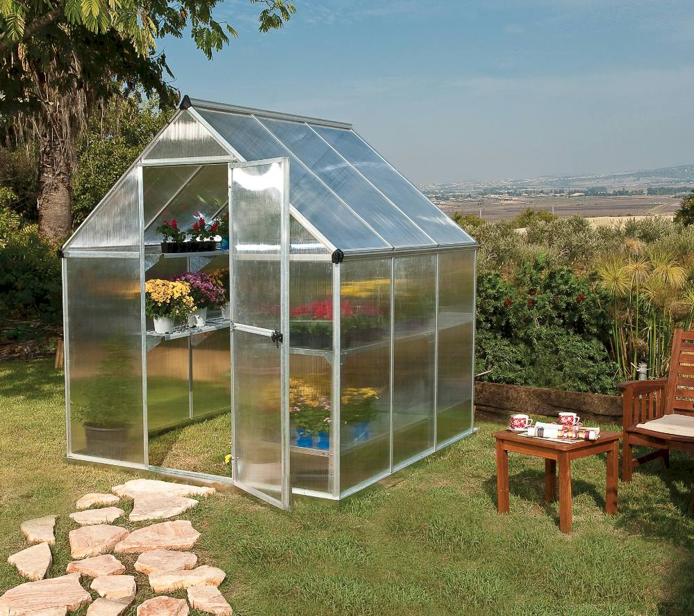 Polycarbonate greenhouse 6x6 with safe glazing perfect with children