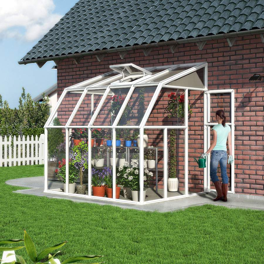 Great cost-effective lean-to greenhouse with a plastic frame